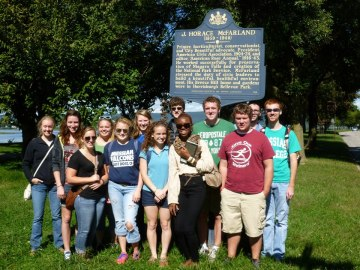 Students from Professor LaGrand's Urban History class in Harrisburg, PA on Saturday, 15 September 2012.