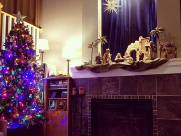 The kid's tree and a Nativity scene.