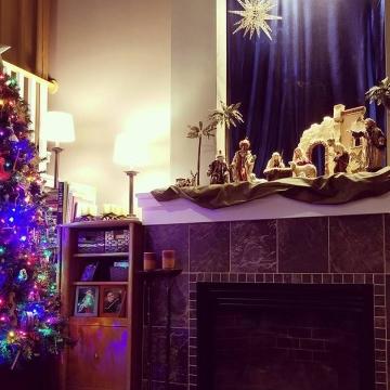 The kid's tree and a Nativity scene.